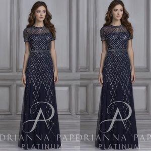 Adrianna Papell caged short sleeve beaded dress